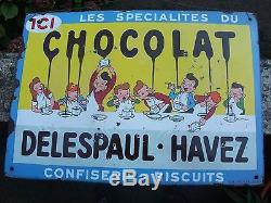 Plaque Emaillee Chocolat Delespaul-havez Rare Entourage Bleu