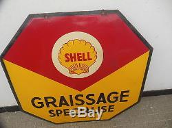 Plaque Emaillee De Garage Huile Shell