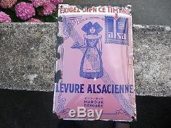 Plaque Emaillee D'origine Levure Alsacienne Le Timbre