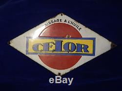 PLAQUE EMAILLEE / Enamelled plate HUILE CELOR MODELE RARE / Rare model