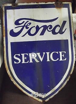 PLAQUE EMAILLEE FORD SERVICE DOUBLE FACE D'EPOQUE SUPERBE PLAQUE TRES RARE