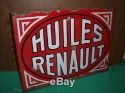 PLAQUE EMAILLEE HUILE RENAULT 1932 bidon oil can pompe pump esso bp shell azur