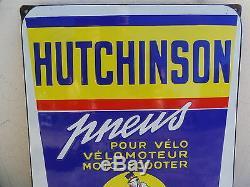 Plaque Emaillee Hutchinson Remouleur Pneus Pour Velo Moto Scooter Strasbourg Ho