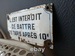 PLAQUE EMAILLEE INTERDIT / 20 X 10 cm. Déco loft industriel immeuble utilité