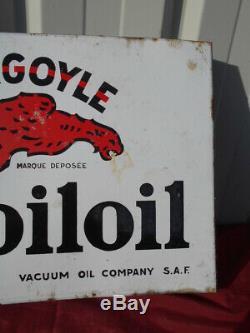 PLAQUE EMAILLEE MOBILOIL, GARGOYLE EPOQUE 1950/60 (Recto-Verso)