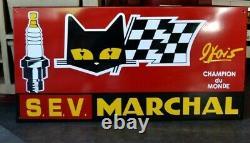 PLAQUE EMAILLEE Marchal bougie garage 1 mètre enamel sign emailschild