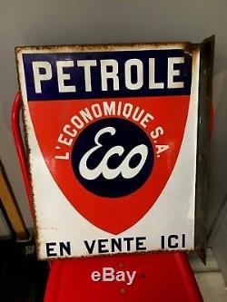 PLAQUE EMAILLEE PETROLE ECO essence émail japy garage avant esso standard huile