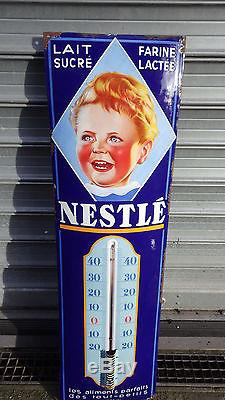 PLAQUE EMAILLEE THERMOMETRE BOMBEE BEBE NESTLE TRES BELLES COULEURS
