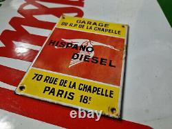 PLAQUE EMAILLEE garage HISPANO DIESEL Paris 18