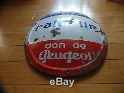 Plaque Emaille Bombee De Garage Peugeot (email Japy)