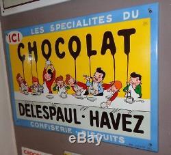 PLAQUE EMAILLéE DELESPAUL-HAVEZ bleue années 1950 plus rare que la blanche