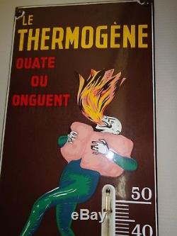 PLAQUE EMAILLéE Le THERMOGèNE (Capiello) JAMAIS RESTAURéE (109 X 29 cm) 1962