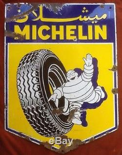 Plaque Émaillée Ancienne Originale Michelin Garage Automobile Publicitaire Pneu