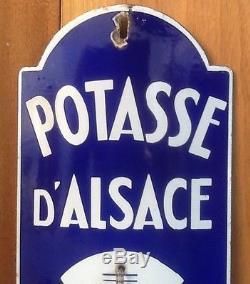Plaque Émaillée Ancienne Thermomètre Potasse D ´ Alsace Publicitaire Edmond Jean