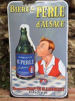 Plaque Émaillée Bières Perle D'alsace
