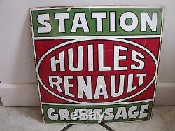 PLAQUE ÉMAILLÉE PUB LES HUILLES RENAULT STATION GRAISSAGE DIMENSION 30 30 CM