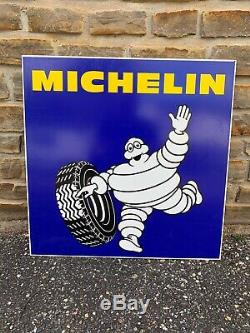 PLAQUE TOLE ANCIEN GARAGE STATION SERVICE MICHELIN Double Face Type Emaillee