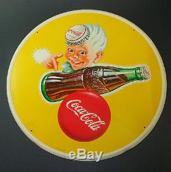 PLAQUE TOLE RONDE NON EMAILLEE ANCIENNE COCA COLA OLD PLATE COKE PUB ENAMELED