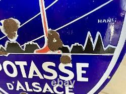 POTASSE D'ALSACE Plaque émaillée publicitaire Ed. Jean, signée Hansi, 50x70 cm