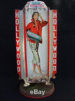 PRESENTOIR HOLLYWOOD CHEWING GUM PIN-UP BRENOT/ TOLE LITHO/ DISTRIBUTEUR /