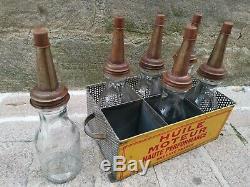 Panier de 6 biberons d'huile déco vintage garage Loft