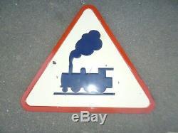 Panneau de signalisation émaillé 1964 Vitracier Neuhauf LOCOMOTIVE SNCF TRAIN