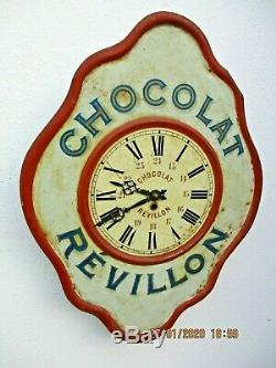 Pendule tole publicitaire Chocolat Révillon