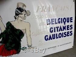 Peu Courante Plaque Émaillée Cigarettes Gitanes Gauloises Signée Dransy Ed. Jean