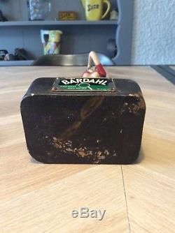 Pin-up huiles Bardahl ancienne plaque émaillée shell