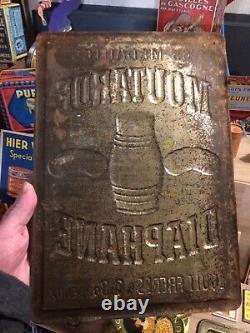 Plaque Ancienne Tôle Lithographiée Publicitaire Moutarde Diaphane no émaillée