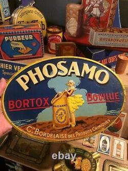 Plaque Ancienne Tôle Lithographiée Publicitaire Phosamo no émaillée