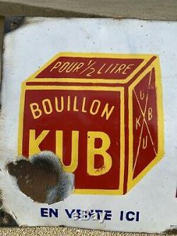 Plaque Bouillon Kub Originale 1940/50 Emaillerie Alsacienne