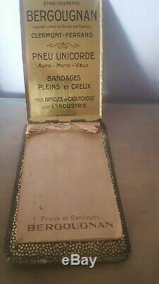 Plaque, Carnet Tole Litho Pneus Bergougnan Art Deco (garage, Bidon D'huile)