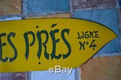 Plaque Cornichon Emaillée Métro Paris Ligne 4 Saint Germain des Près Epoque 1930