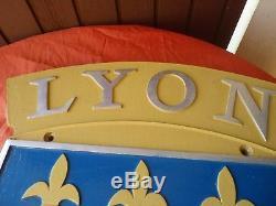 Plaque De Locomotive Sncf Ville De Lyon Lion Fleurs De Lys French Railways / Rar