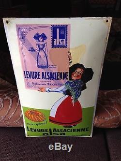 Plaque Emaillée Ancienne Levure Alsacienne Alsa