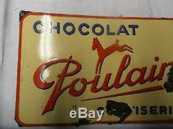 Plaque Emaille Ancienne Chocolat Poulain