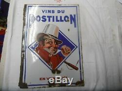 Plaque Emaille Ancienne Vin Du Ponstillon