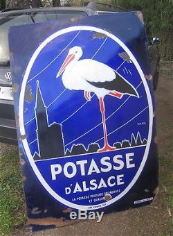 Plaque Emaillee 145 Cm! Potasse D'alsace 1930 Hansi Ed. Jean Cigogne