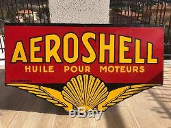 Plaque Émaillée Aeroshell Shell Motor Oil 1930 Huile Tole Bidon Garage Deux Face