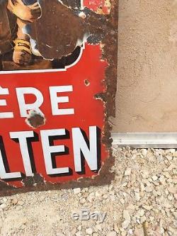 Plaque Émaillée Ancienne Bière Velten