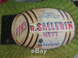 Plaque Emaillee Ancienne Double Face Tonneau Vins Salerins Metz Cave Fleur Lys