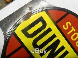 Plaque Emaillee Ancienne Dunlop Stock Double Face En Equerre