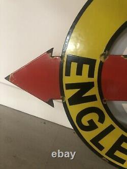 Plaque Emaillee Ancienne Englebert Fleche Enamel Sign Emailschild Rare