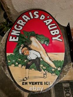 Plaque Emaillee Ancienne Engrais D'auby