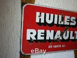 Plaque Emaillee Ancienne Et Originale Huiles Renault