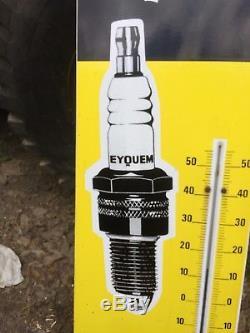 Plaque Émaillée Ancienne Garage Automobile Bougie Eyquem Thermomètre