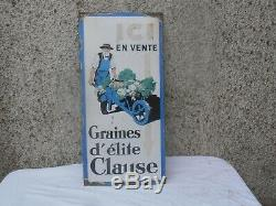 Plaque Emaillee Ancienne Graines Clause