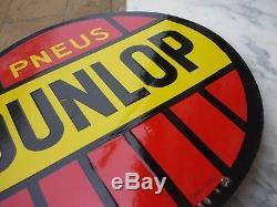 Plaque Emaillee Ancienne Pneus Dunlop Double Face Emaillerie Alsacienne