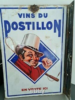Plaque Emaillee Ancienne Vins du Postillon